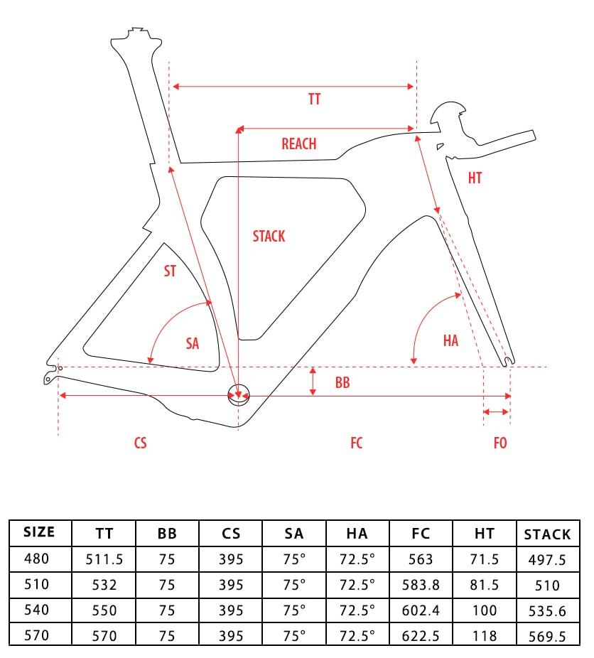 Triathlon frameset size