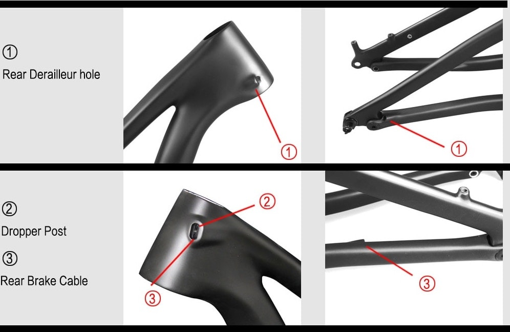 29er mtb enduro full suspension boost frame internal cable route guide