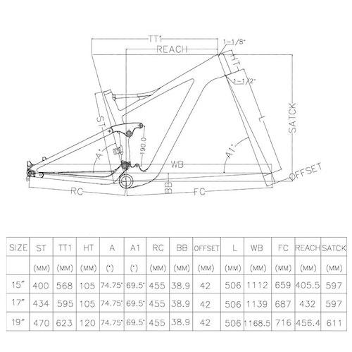 29er mtb frame 122 travel geometry