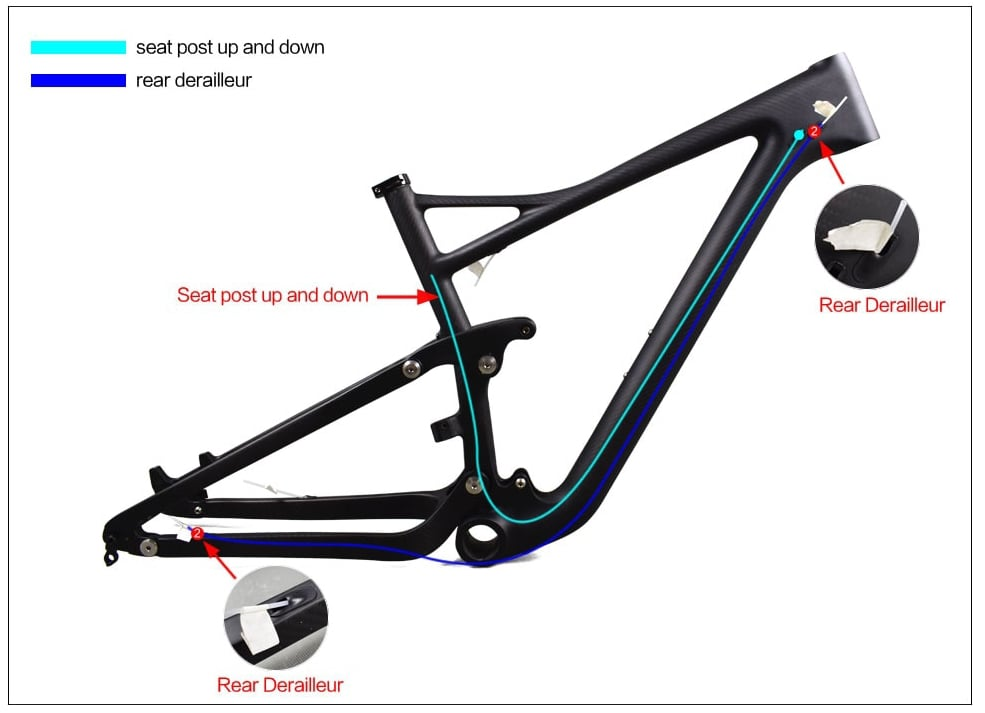 29er mtb suspension inner cable route guide brake system