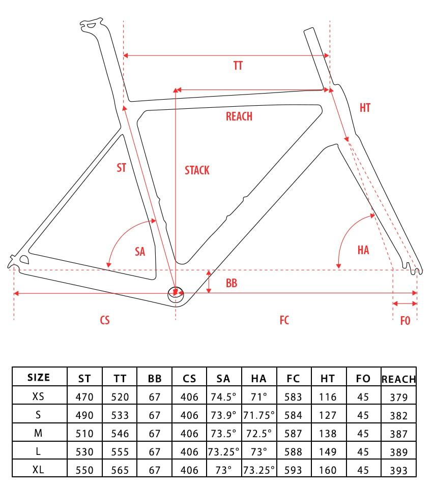 Disk Brake carbon road bike frame geometry
