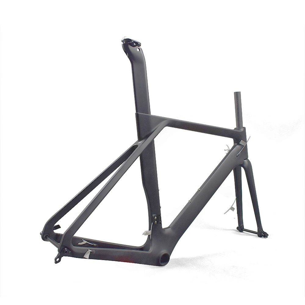 Aerodynamic disc brake road frame