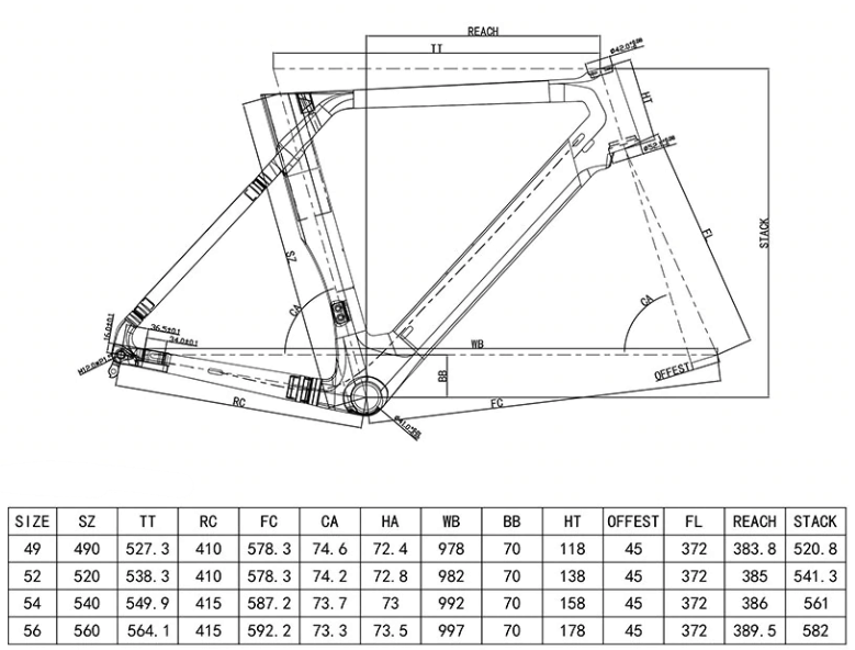 Aerodynamic disc brake road frame geo