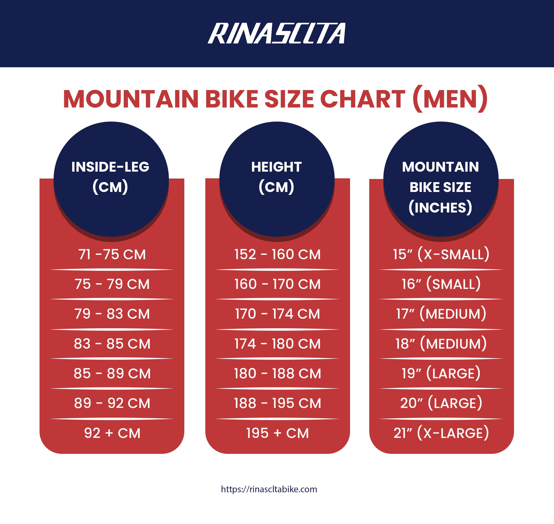 men's mountain bike size chart
