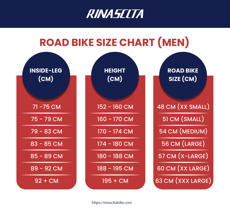 men's road bike size chart