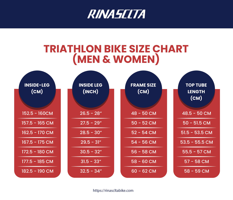 triathlon bike size chart (men & women)