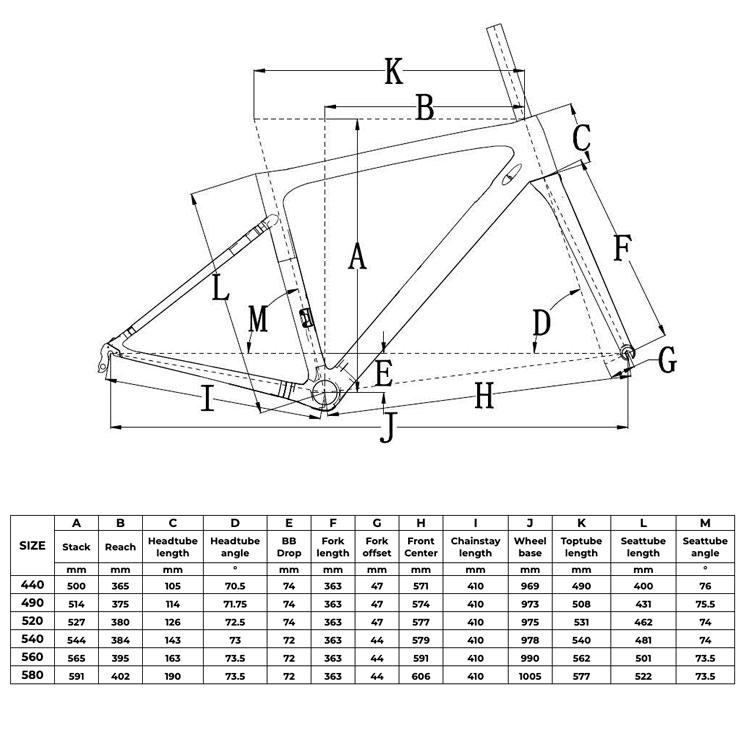 Rinasclta 2019 lightweight carbon road frame geometry