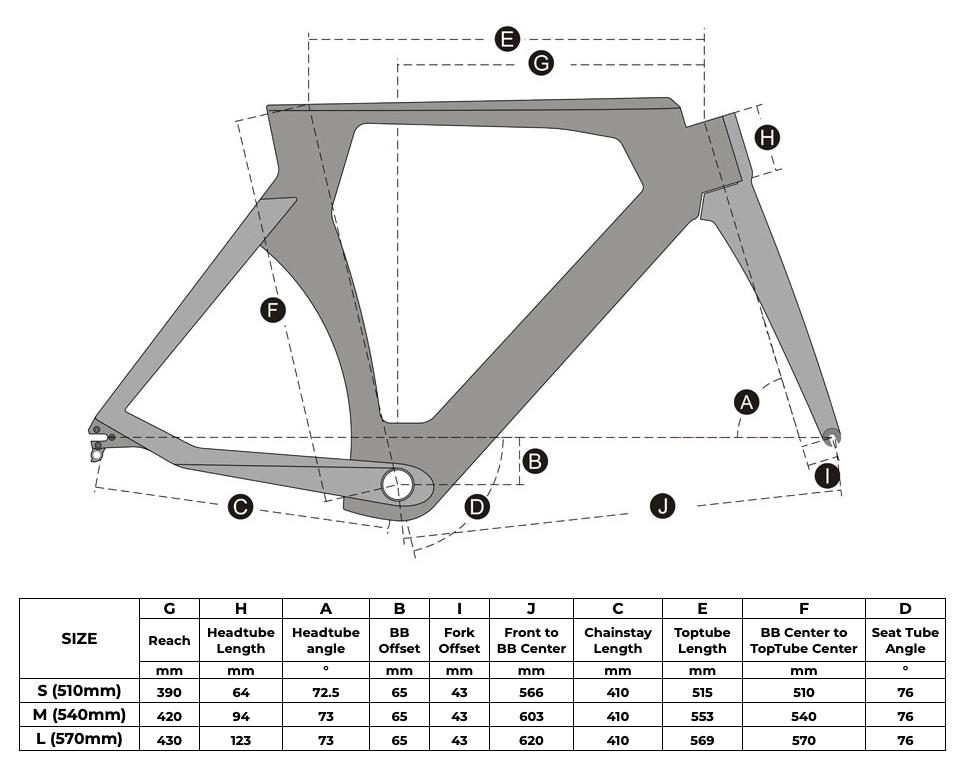 Rinasclta 2020 Triathlon(TT) carbon bike frame Geometry