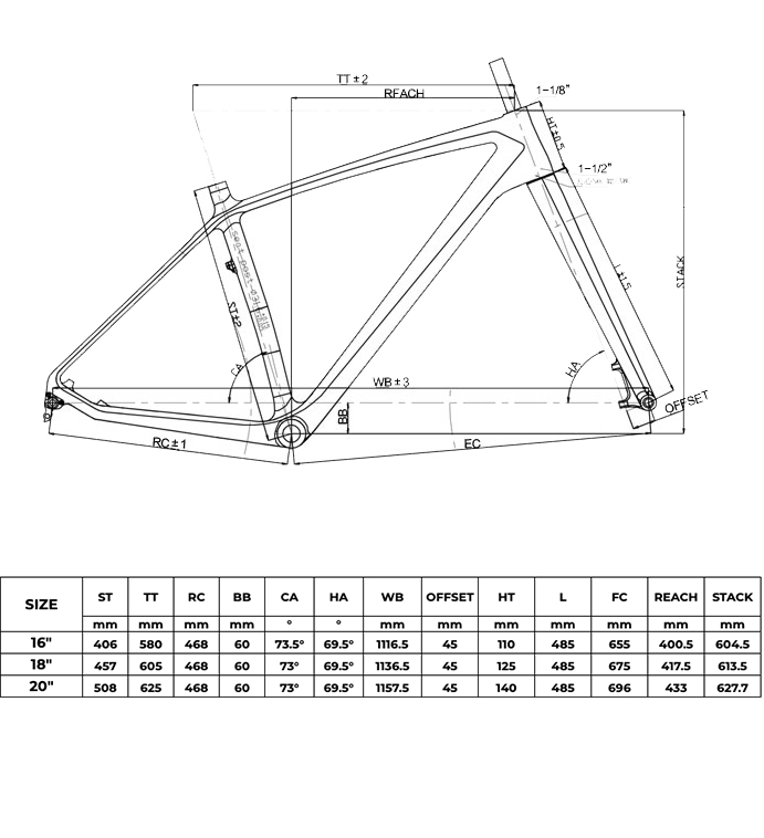 26er carbon fatbike rahmen Geometrie
