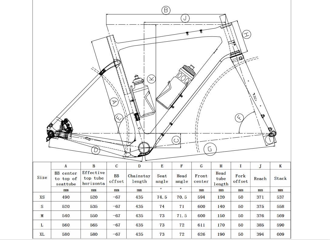 Rinasclta gravel frame geometry